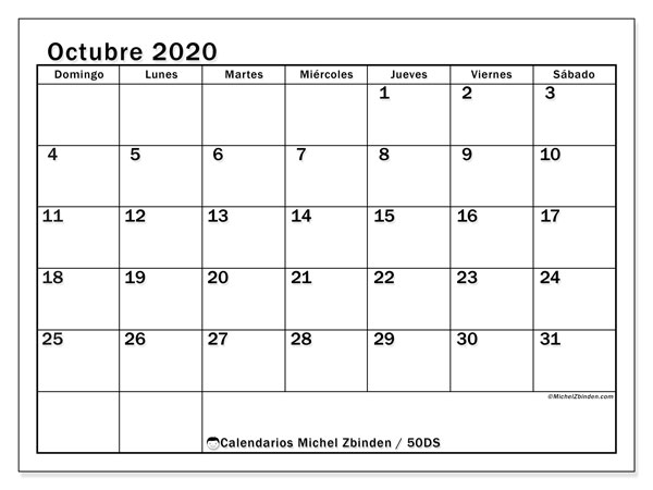 Calendario octubre 2020, 50DS. Calendario mensual para imprimir gratis.