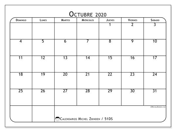 Calendario octubre 2020, 51DS. Calendario para imprimir gratis.