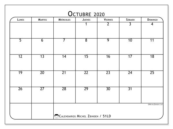Calendario Mes De Octubre 2020 Para Imprimir.Calendario Octubre 2020 51ld Michel Zbinden Es