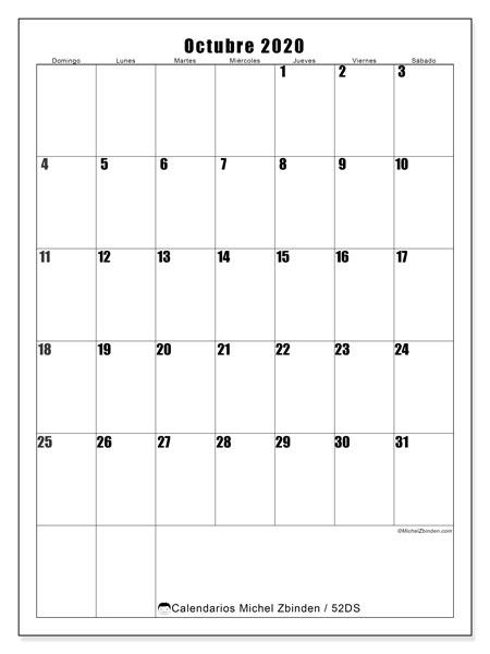 Calendario octubre 2020, 52DS. Calendario imprimible gratis.