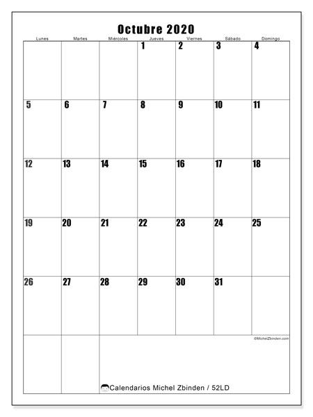 Calendario octubre 2020, 52LD. Calendario mensual para imprimir gratis.