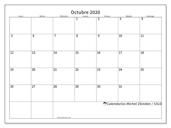 Calendario octubre 2020, 53LD. Calendario mensual para imprimir gratis.