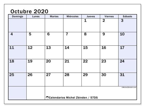Calendario octubre 2020, 57DS. Calendario gratuito para imprimir.