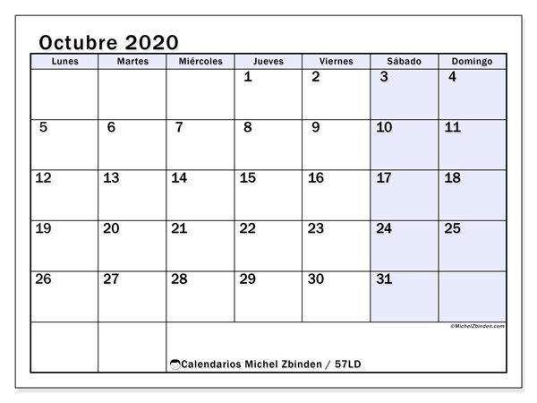 Calendario octubre 2020, 57LD. Calendario para imprimir gratis.