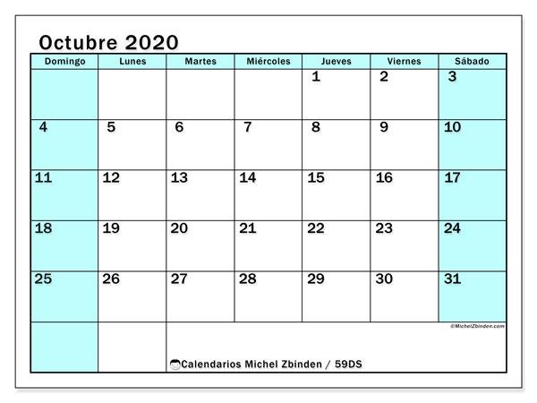 Calendario octubre 2020, 59DS. Calendario mensual para imprimir gratis.