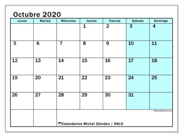 Calendario octubre 2020, 59LD. Calendario mensual para imprimir gratis.