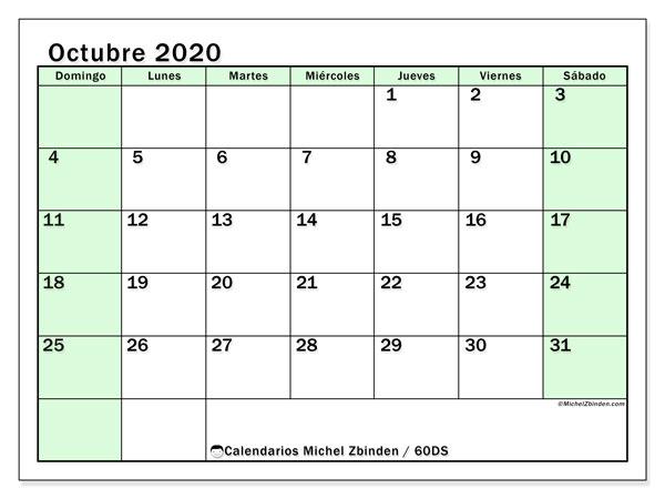 Calendario octubre 2020, 60DS. Calendario mensual para imprimir gratis.