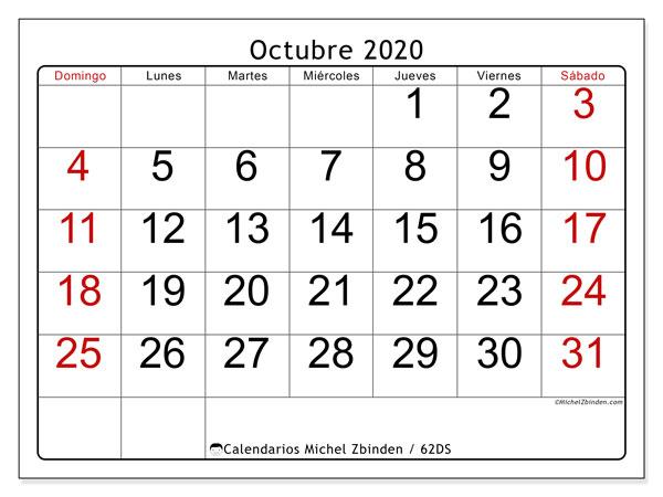 Calendario octubre 2020, 62DS. Calendario imprimible gratis.