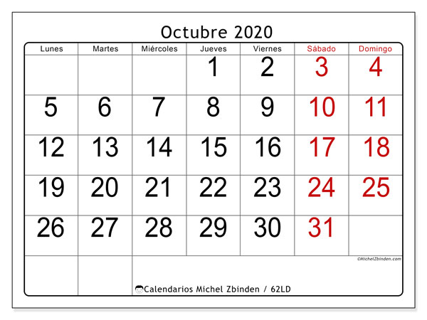 Calendario octubre 2020, 62LD. Planificación para imprimir gratis.