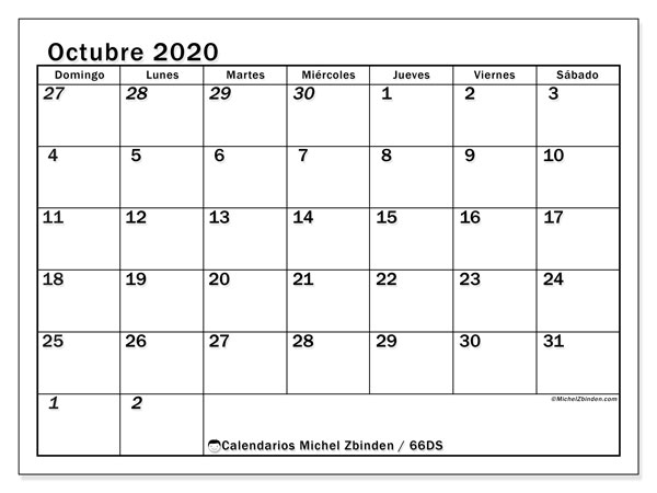 Calendario octubre 2020, 66DS. Almanaque para imprimir gratis.