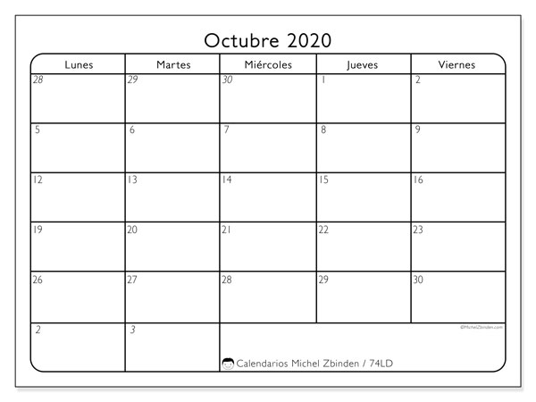 Calendario octubre 2020, 74LD. Almanaque para imprimir gratis.