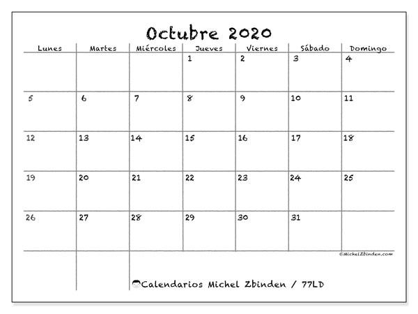 Calendario octubre 2020, 77LD. Calendario imprimible gratis.