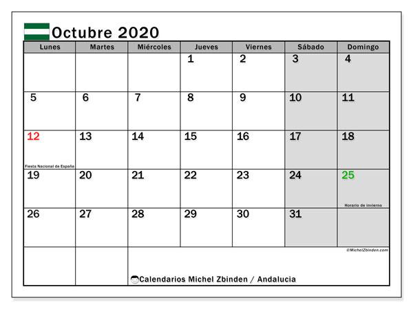 Calendario octubre 2020, con días feriados en Andalucía. Calendario vacaciones y festivos para imprimir gratis.