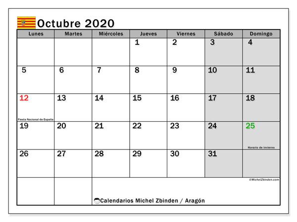 Calendario octubre 2020, con días feriados de Aragón. Calendario para imprimir gratis con días festivos.