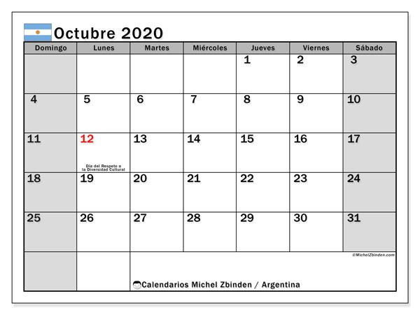 Calendario octubre 2020, con los días feriados en Argentina. Calendario para el mes para imprimir gratis.
