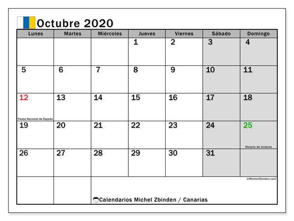 Calendario octubre 2020, con días feriados en las Islas Canarias. Calendario vacaciones y festivos para imprimir gratis.