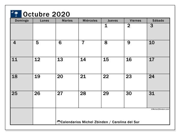 Calendario octubre 2020, con días feriados en Carolina del Sur. Calendario para imprimir gratis con días festivos.