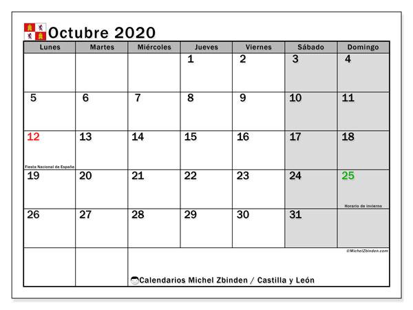 Calendario octubre 2020, con días feriados de Castilla y León. Calendario vacaciones y festivos para imprimir gratis.