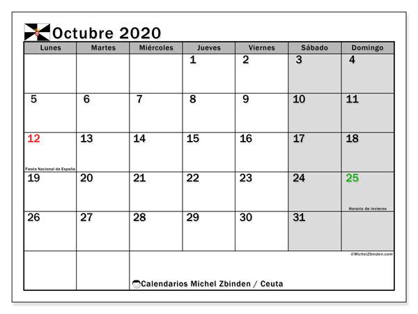 Calendario octubre 2020, con días feriados en Ceuta. Calendario para imprimir gratis con días festivos.
