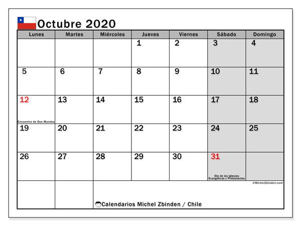 Calendario octubre 2020, con los días feriados para Chile. Calendario para imprimir gratis.