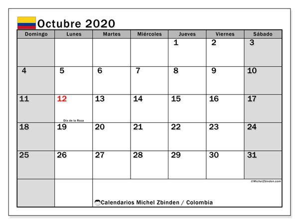 Calendario octubre 2020, con días feriados de Colombia. Calendario para imprimir gratis con días festivos.
