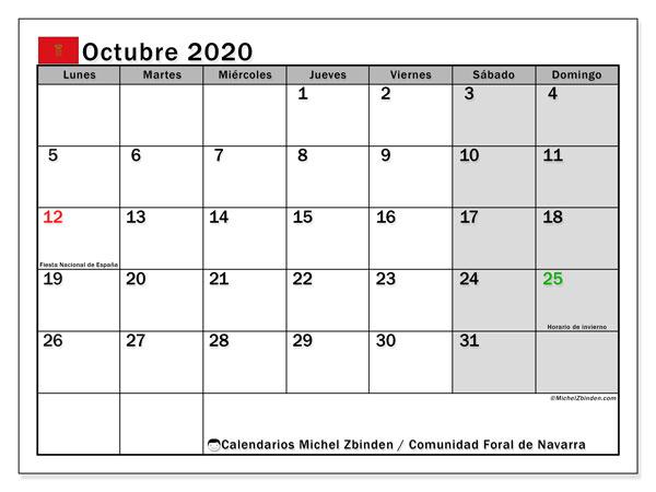 Calendario octubre 2020, con días feriados de la Comunidad Foral de Navarra. Calendario vacaciones y festivos para imprimir gratis.