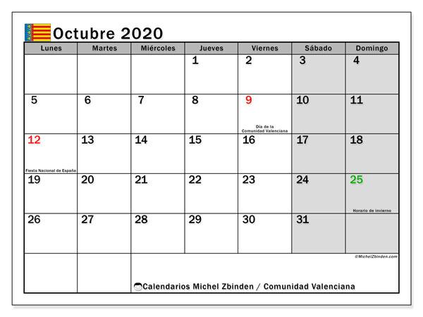 Calendario octubre 2020, con días feriados de la Comunidad Valenciana. Calendario para imprimir gratis con días festivos.