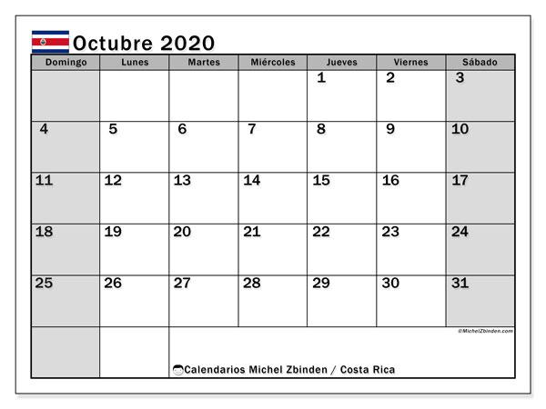Calendario octubre 2020, con días feriados de Costa Rica. Calendario para imprimir gratis con días festivos.