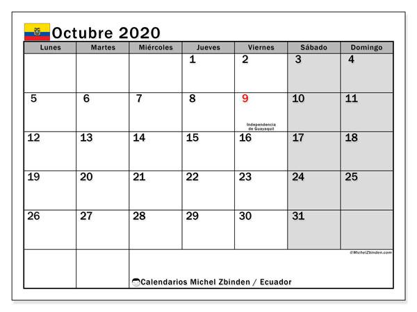 Calendario octubre 2020, con días feriados en Ecuador. Calendario para imprimir gratis con días festivos.