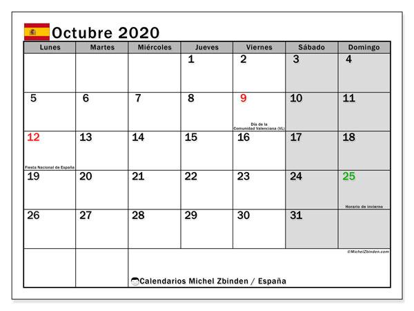 Calendario octubre 2020, con días feriados en España. Calendario para imprimir gratis con días festivos.
