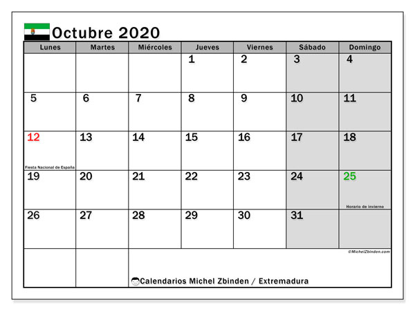Calendario octubre 2020, con días feriados en Extremadura. Calendario vacaciones y festivos para imprimir gratis.