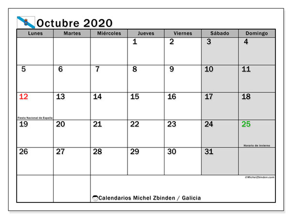 Calendario octubre 2020, con días feriados en Galicia. Calendario para imprimir gratis con días festivos.