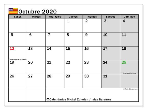 Calendario octubre 2020, con días feriados en las Islas Baleares. Calendario para imprimir gratis con días festivos.