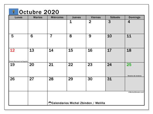 Calendario octubre 2020, con días feriados en Melilla. Calendario para imprimir gratis con días festivos.