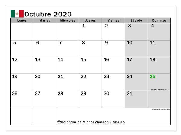 Calendario octubre 2020, con días feriados de México. Calendario vacaciones y festivos para imprimir gratis.