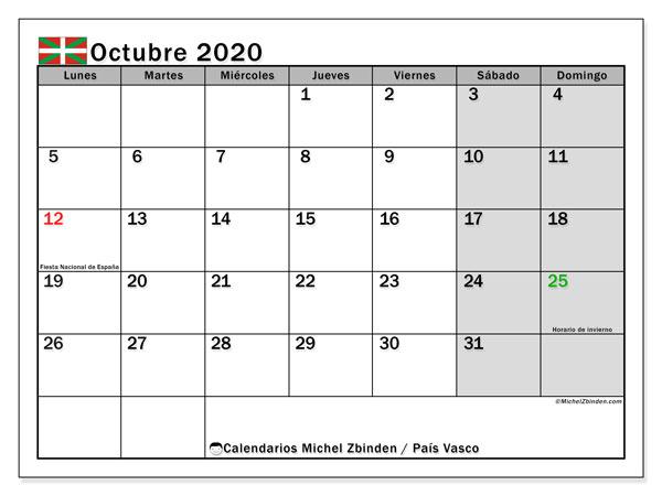 Calendario octubre 2020, con días feriados en el País Vasco. Calendario vacaciones y festivos para imprimir gratis.