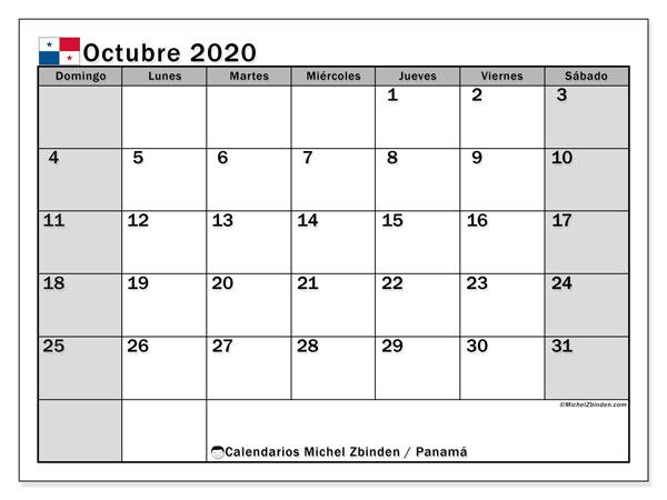 Calendario octubre 2020, con días feriados de Panamá. Calendario vacaciones y festivos para imprimir gratis.