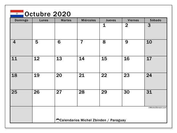 Calendario octubre 2020, con los días feriados en Paraguay. Calendario mensual para imprimir gratis.
