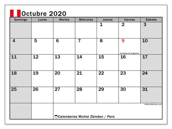 Calendario octubre 2020, con los días feriados para Perú. Calendario mensual para imprimir gratis.