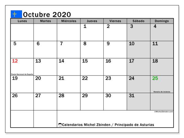Calendario octubre 2020, con días feriados del Principado de Asturias. Calendario para imprimir gratis con días festivos.