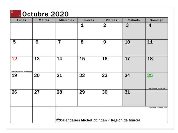 Calendario octubre 2020, con días feriados en la Región de Murcia. Calendario para imprimir gratis con días festivos.