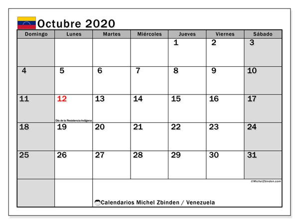 Calendario octubre 2020, con días feriados en Venezuela. Calendario vacaciones y festivos para imprimir gratis.
