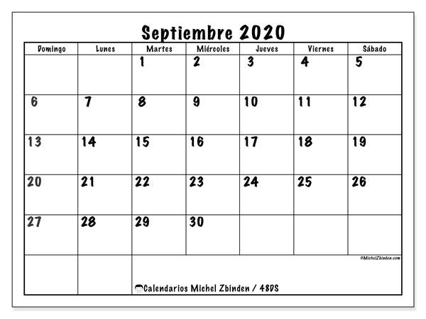 Calendario septiembre 2020, 48DS. Almanaque para imprimir gratis.