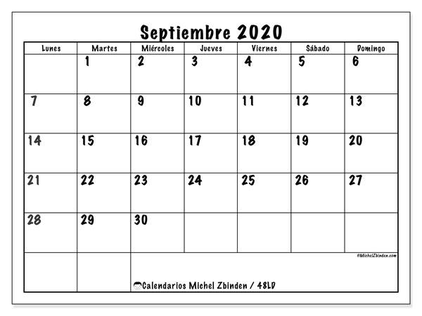 Calendario septiembre 2020, 48LD. Calendario imprimible gratis.