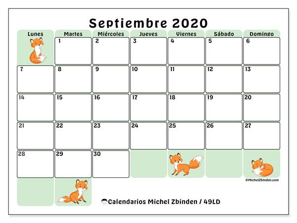 Calendario septiembre 2020, 49LD. Almanaque para imprimir gratis.