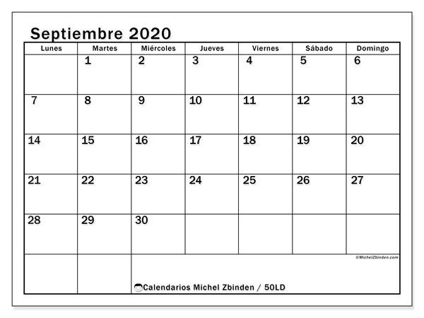 Calendario septiembre 2020, 50LD. Almanaque para imprimir gratis.