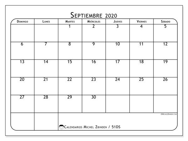 Calendario septiembre 2020, 51DS. Almanaque para imprimir gratis.
