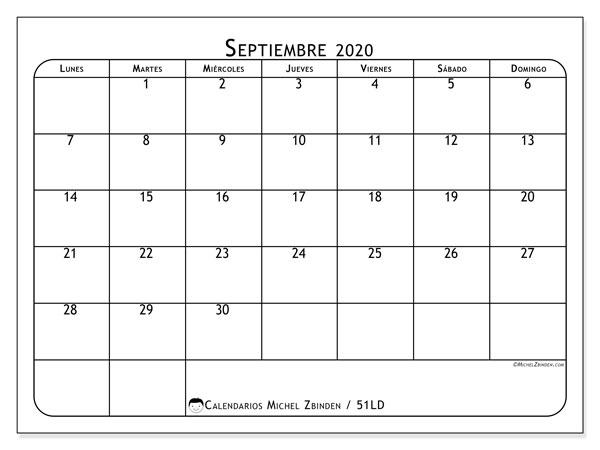 Calendario septiembre 2020, 51LD. Calendario mensual para imprimir gratis.