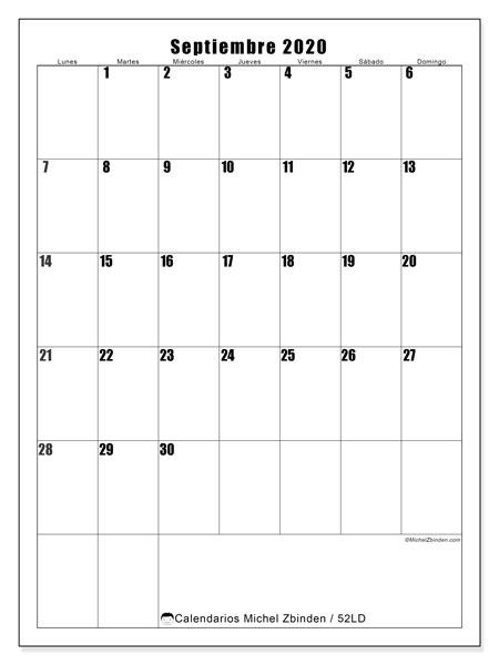 Calendario septiembre 2020, 52LD. Calendario mensual para imprimir gratis.