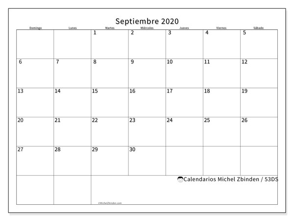 Calendario 53DS, septiembre  de 2020, calendario mensual y Array